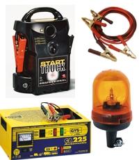 Arrancadores de bater�as, cargadores, luces giratorias, barras de se�alizacion, etc...