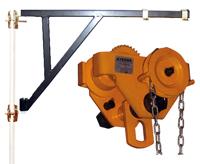 Soporte para polipastos de cadena para colocar en el andamio.