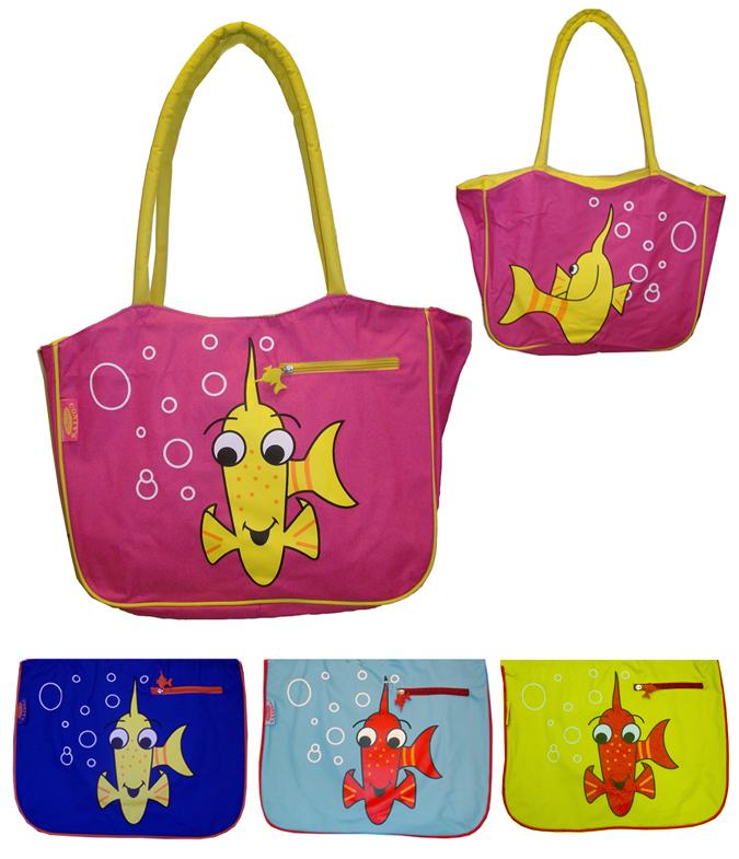 Bolsa para la playa y para la piscina con peces de colores.