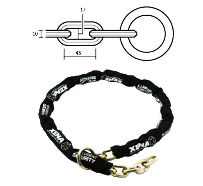 Cadena de acero templado xena ref. xenxcch10170l para conseguir la maxima seguridad.