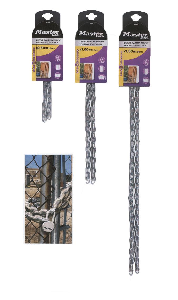 Cadena seguridad de acero master lock cnm8007eurd para puertas, rejas y vallas.