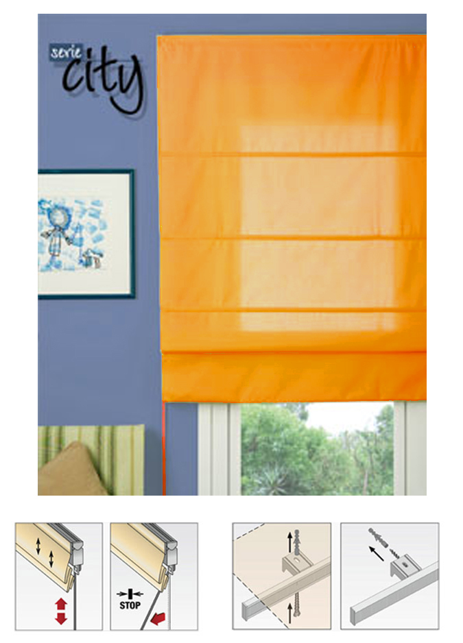 estor naranja para ventana city 175 cm