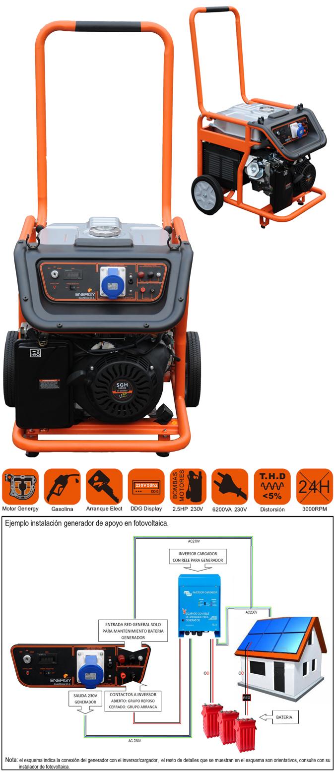 Generador autom tico guardi n sc 6 6200w 230v lidersolar for Generador arranque automatico
