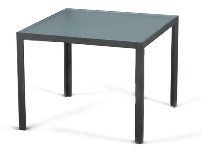 Mesa cuadrada en aluminio y crital de exterior mobiliario for Mobiliario exterior para jardin