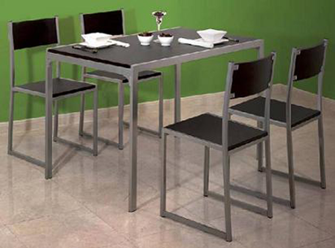 Conjunto mesa con 4 sillas para cocina mobiliario wengue for Sillas de cocina precios