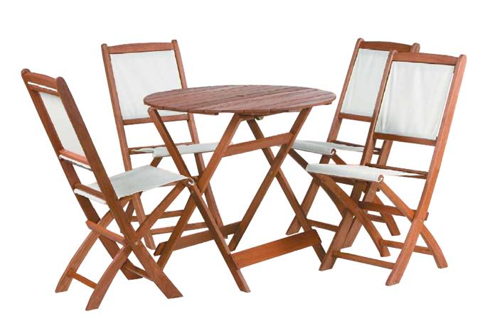 Mesa y 4 sillas madera village conjunto de madera para for Mesas de terraza plegables