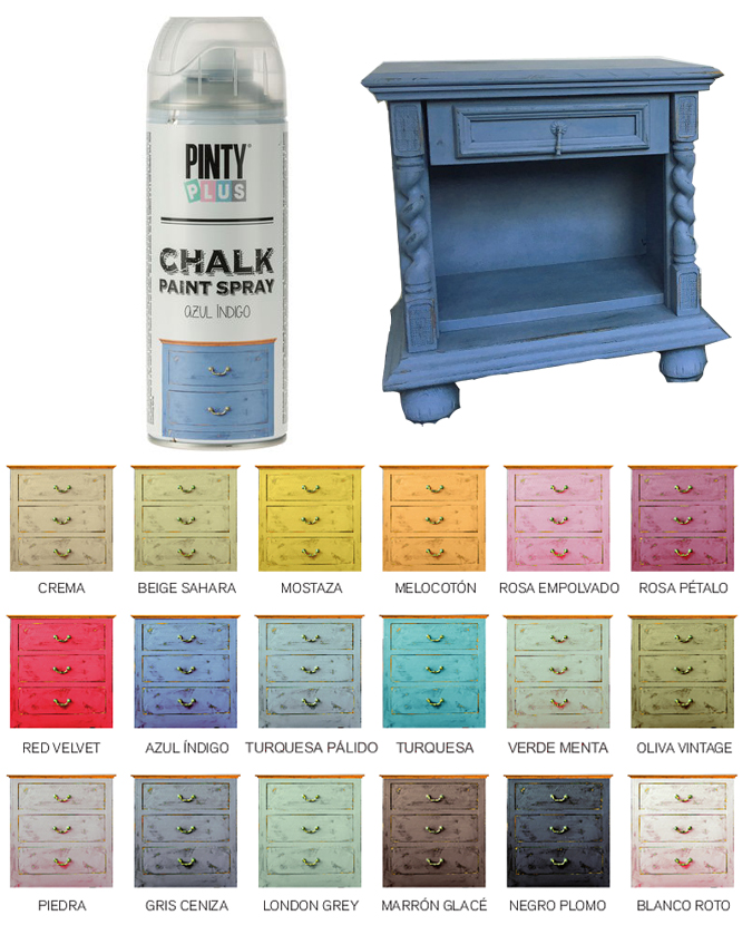 Pintura en spray efecto tiza vintage pintyplus chalk azul for Pintura azul pared