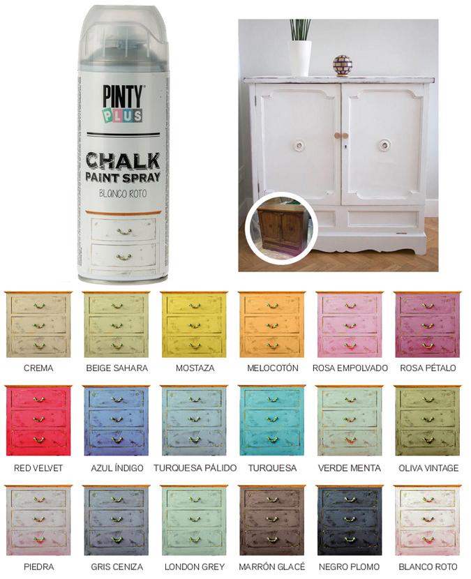 Pintura en spray efecto tiza vintage pintyplus chalk - Gama de colores blanco roto ...