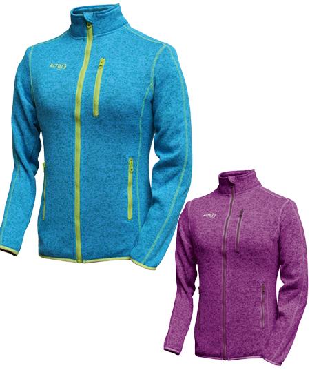Chaqueta de punto altus Odyssey para mujer disponible color turquesa o color púrpura