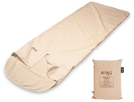 sabana saco travel de Altus, ideal para mantener el interior del saco limpio