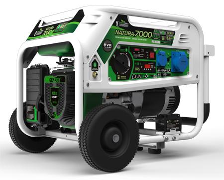 Generadors genergy con funcionamiento a gasolina o a gas propano respetuoso con el medio ambiente hasta 7000w de potencia Modelo Natura 7000