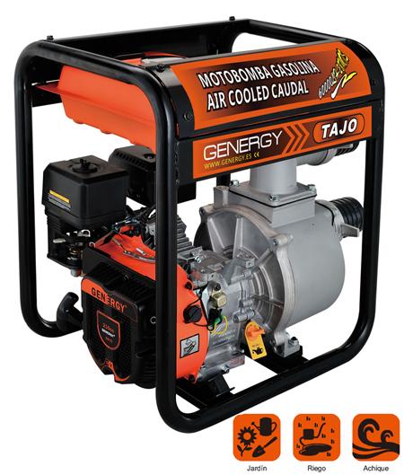 Motobombas para el trasvase de agua y riego de huerto a gasolina con gran caudal modelo Tajo de la marca Genergy