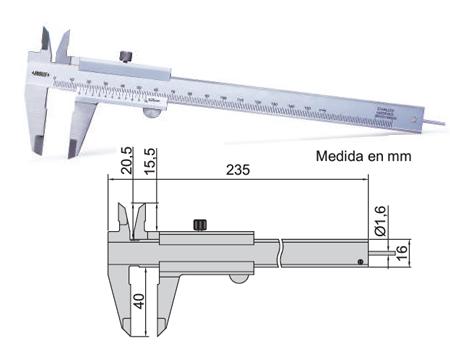Calibre insize con varilla de profundidad redonda