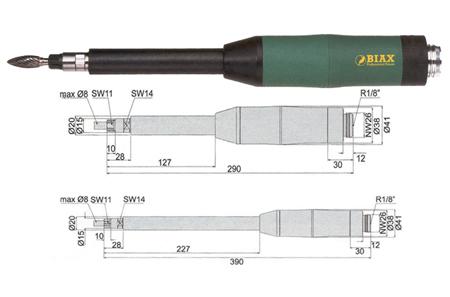 Amoladora neumatica  biax profesional srd 8-20/2l100 y srh 8-20/2l100