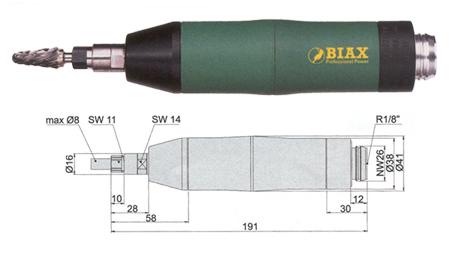 Amoladora profesional neumatica Biax srd 8-20/2 y srh 8-20/2