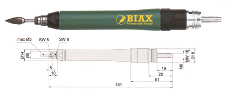 Amoladora neumatica recta Biax srd 3-55/2