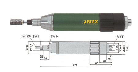 Amoladora recta profesional Biax  sard 820 y sarh 820