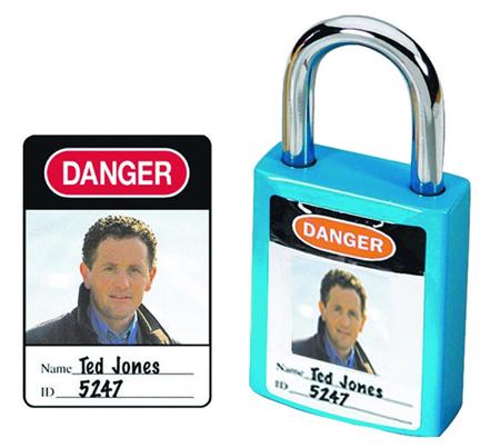 etiquetas de identificacion de candados con foto y nombre del responsable