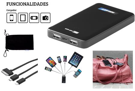 Cargador multifunción, doble salida USB