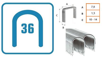 Grapas para clavadora de cable redondas tipo 36