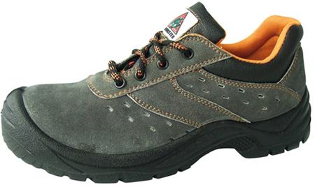 Zapato de seguridad de serraje perforado
