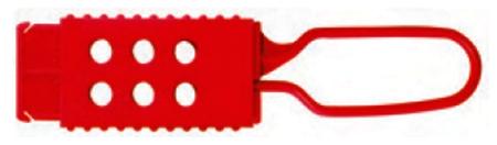Aldaba de plastico para el bloqueo de un punto mediante 6 candados de 6 trabajadores distintos, de la marca Master Lock, modelo 428
