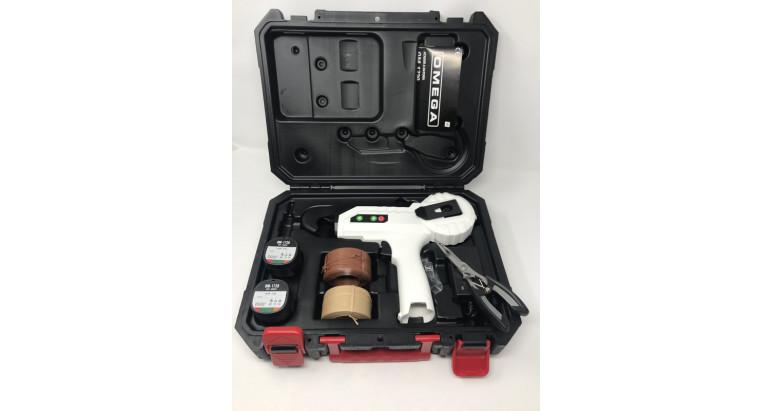 atadora a bateria para ramas omega con maletin y 3 rollos de alambre