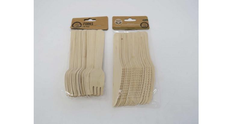 Tenedores y cuchillos de madera biodegradables