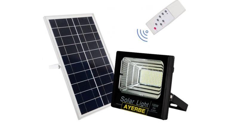 Foco solar Led 100W con mando a distancia