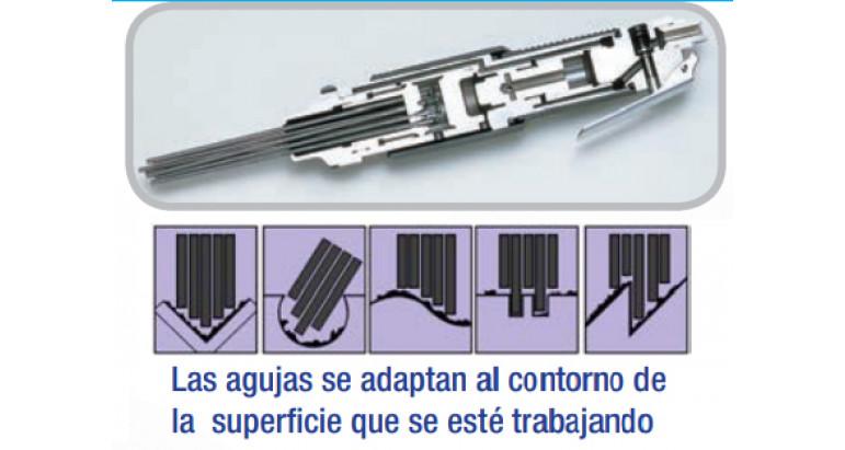 superficies difíciles a las que alcanza las agujas de los martillos neumáticos