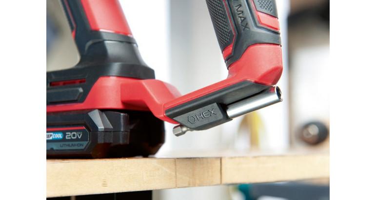 Martillo percutor profesional de batería con empuñadura suave y espacio para guardar un portapuntas