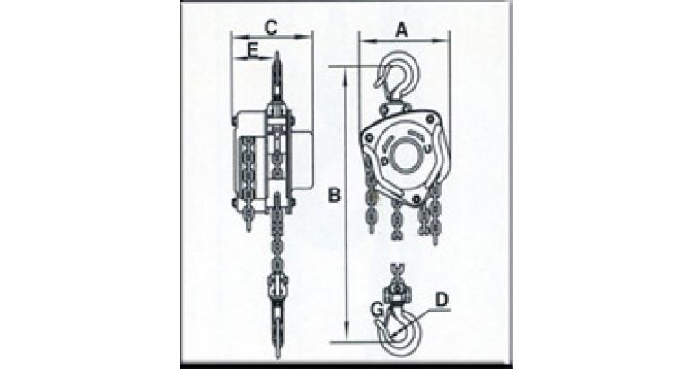 Medidas polipasto AY-2000-P 580410