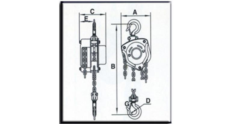 Medidas polipasto AY-1000-P-580400