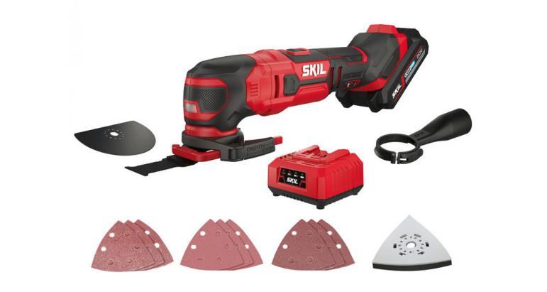 Multiherramienta de batería Skil 3620 AA con mutitud de accesorios para lijar, cortar, serrar