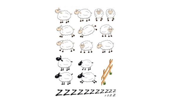 LAMINA DECO ADHESIVA REMOVIBLE OVEJAS SHEEPS
