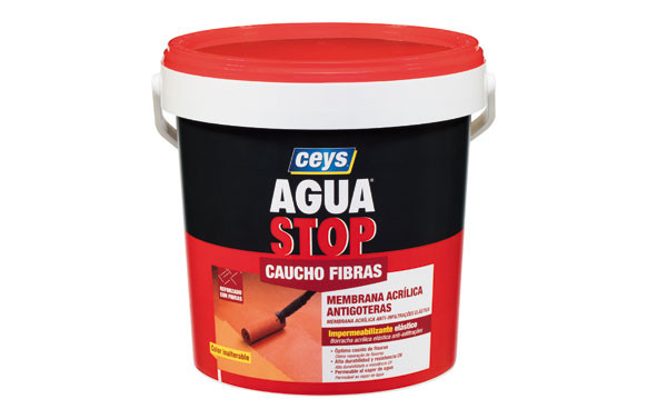 AGUA STOP CAUCHO ACRILICO FIBRAS 5 KG GRIS