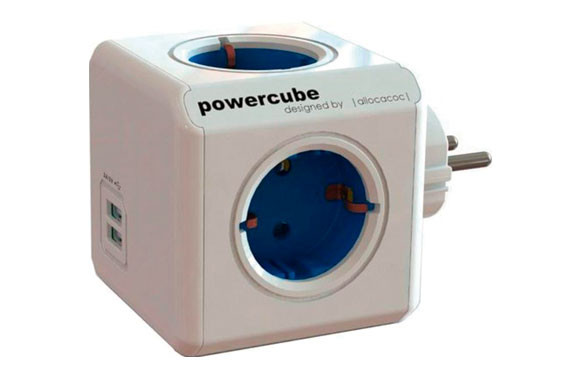 LADRON POWER CUBE+2USB AZUL
