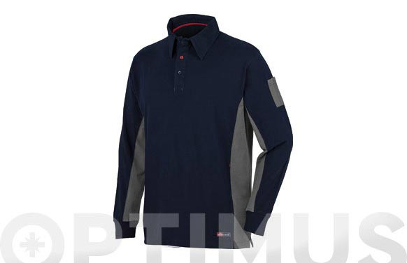 POLO MANGA LARGA STRETCH AZUL-T.XXL