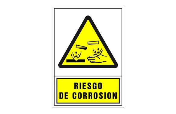 SEÑAL ADVERTENCIA CASTELLANO 345X245 MM-RIESGO DE CORROSION