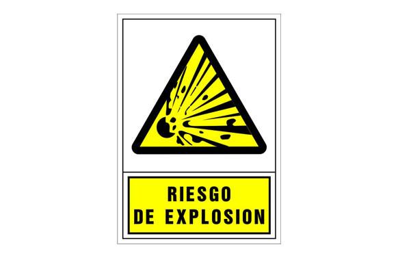 SEÑAL ADVERTENCIA CASTELLANO 345X245 MM-RIESGO DE EXPLOSION