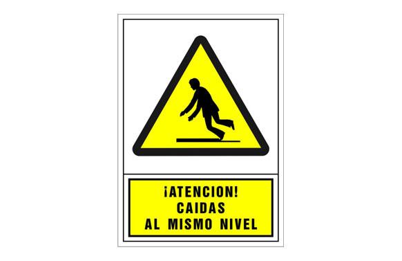 SEÑAL ADVERTENCIA CASTELLANO 490X345 MM-ATENCION CAIDAS AL MISMO NIVEL
