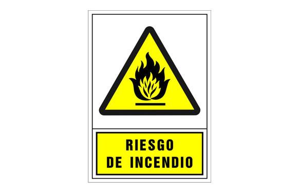 SEÑAL ADVERTENCIA CASTELLANO 490X345 MM-RIESGO DE INCENDIO