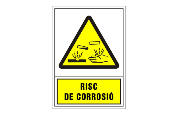 SEÑAL ADVERTENCIA CATALAN 490X345 MM-RISC D\'CORROSIO