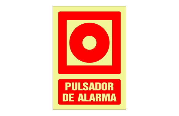 SEÑAL FOTOLUMINISCENTE CONTRA INCENDIO CASTELLANO 420X297 MM-PULSADOR ALARMA