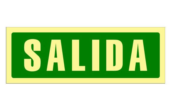 SEÑAL FOTOLUMINISCENTE EVACUACION CASTELLANO 297X105 MM-SALIDA
