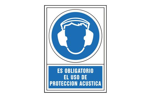 SEÑAL OBLIGACION CASTELLANO 345X245 MM-OBLIGATORIO USO PROTECCION ACUSTICA