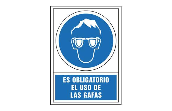 SEÑAL OBLIGACION CASTELLANO 490X345 MM-OBLIGATORIO USO DE GAFAS