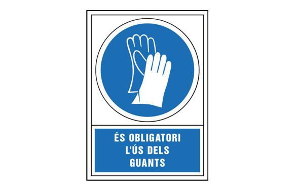 SEÑAL OBLIGACION CATALAN 345X245 MM-OBLIGATORI L\'US DELS GUANTS