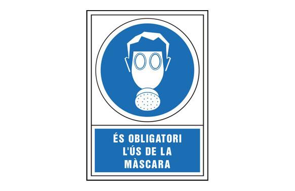 SEÑAL OBLIGACION CATALAN 490X345 MM-OBLIGATORI L\'US DE MASCARA