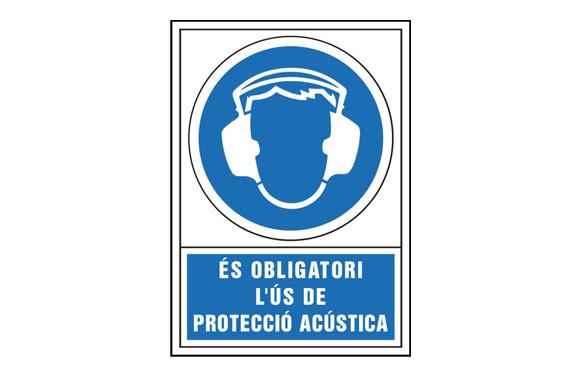SEÑAL OBLIGACION CATALAN 490X345 MM-OBLIGATORI L\'US DE PROTECCIO ACUSTICA